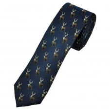 Navy Blue Christmas Reindeer Stag Luxury Silk Men's Skinny Tie