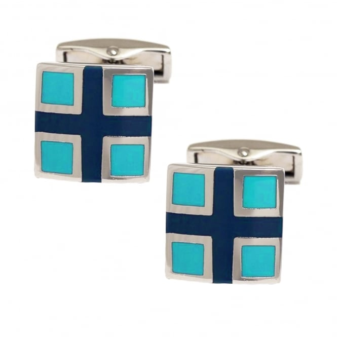 Navy Blue Cross & Turquoise Square Cufflinks