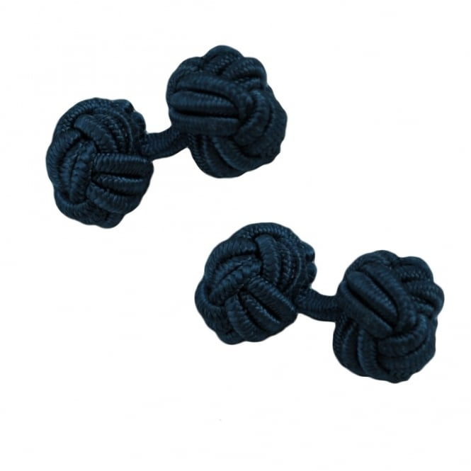 navy blue elastic knot cufflinks
