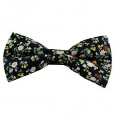Navy Blue Floral Pattern Cotton Men's Bow Tie