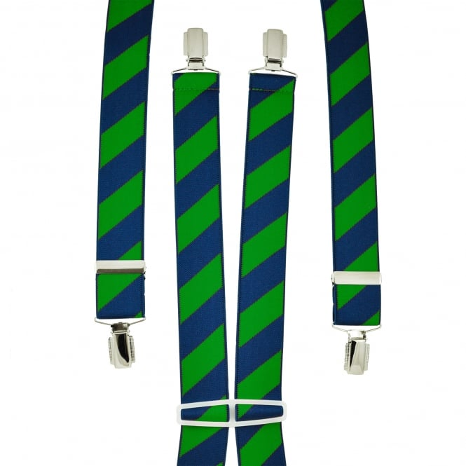 Navy Blue & Forest Green Striped Men's Trouser Braces