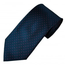 Navy Blue & Fuchsia Pink Polka Dot Men's Tie