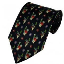 Navy Blue Funny Vegetables Silk Novelty Tie