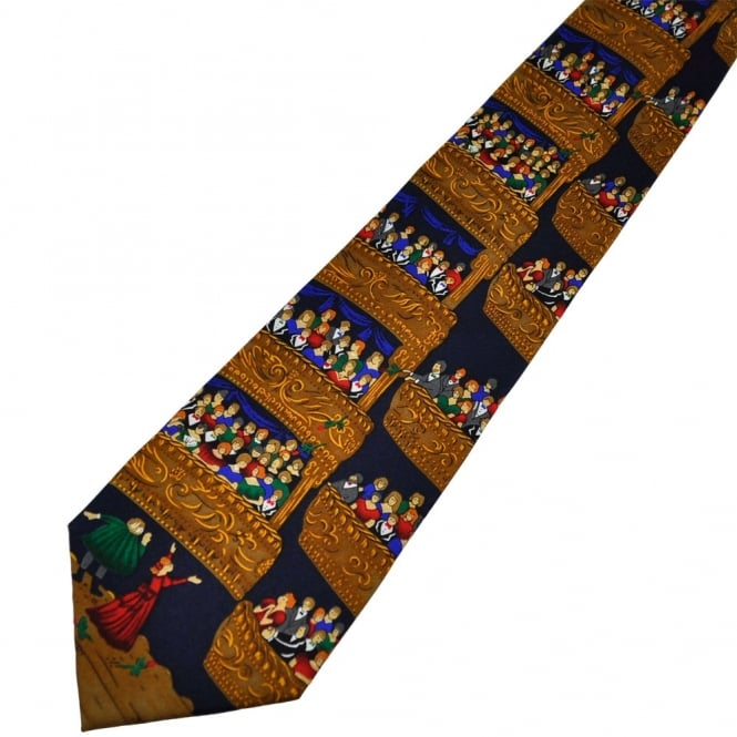 Navy Blue & Gold Opera Crowd Novelty Silk Tie
