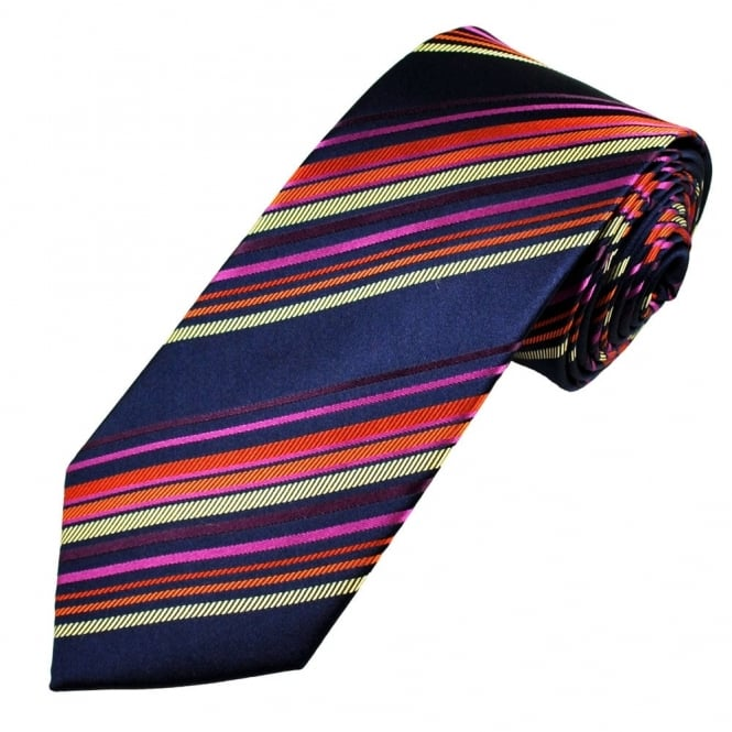 Navy Blue, Gold, Orange & Pink Striped Men's Silk Tie