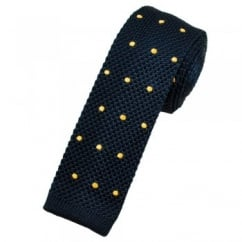 Navy Blue & Gold Polka Dot Silk Knitted Tie