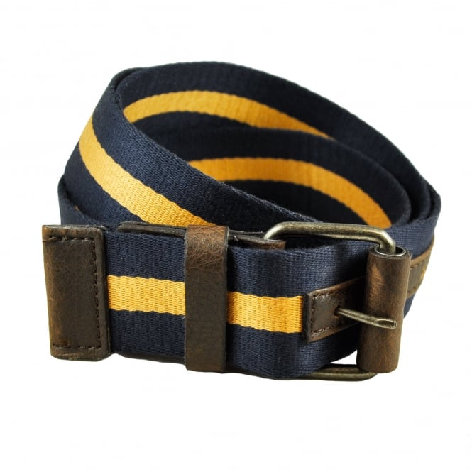 Navy Blue & Gold Striped Men's Rigid Web Belt