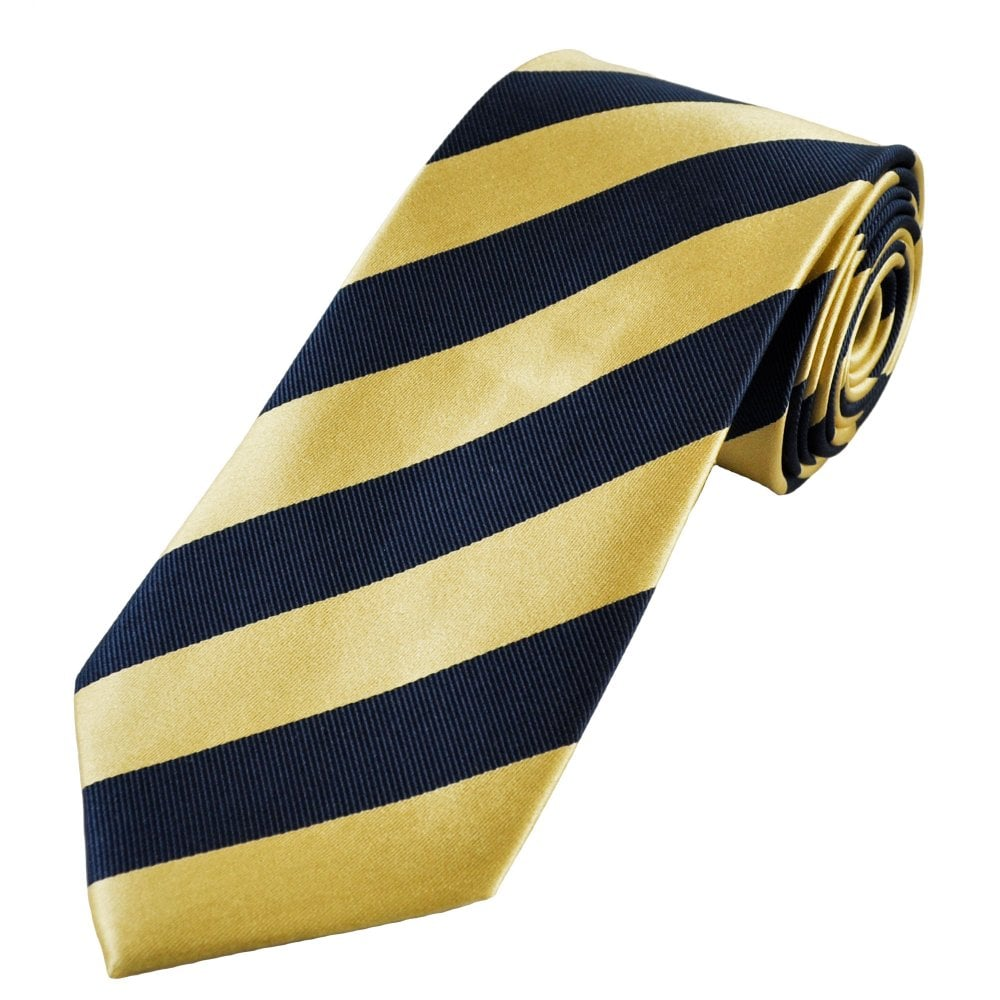 600c89a5eda1 Navy Blue & Gold Striped Men's Silk Tie from Ties Planet UK