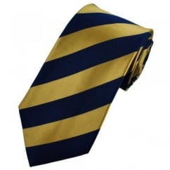 Navy Blue & Gold Striped Silk Tie
