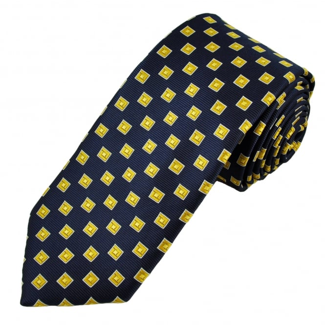 Navy Blue, Gold & White Square Patterned Men's Tie