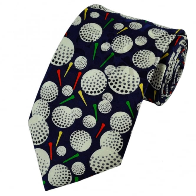 Navy Blue Golf Silk Tie
