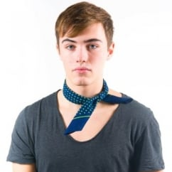 Navy Blue & Green Polka Dot Bandana Neckerchief