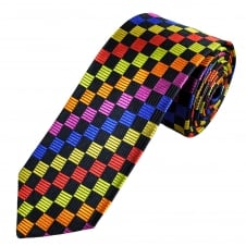 Navy Blue, Green, Red, Gold, Royal Blue, Fuchsia Pink & Orange Square Patterned Men's Luxury Silk Tie