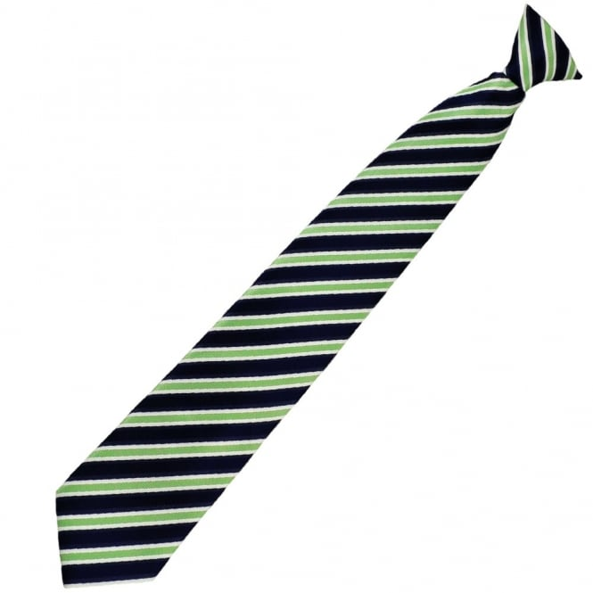 Navy Blue, Green & White Striped Clip On Tie