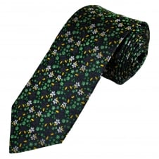 Navy Blue, Green, Yellow & Silver Flower Patterned Men's Luxury Silk Tie