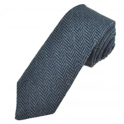 Navy Blue & Grey Herringbone Tweed Wool Tie