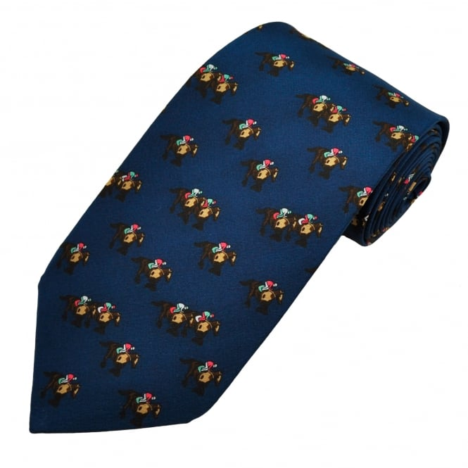 Navy Blue Horse Racing Novelty Silk Tie