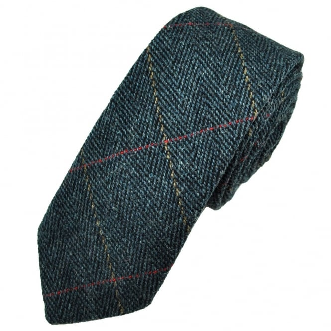 Navy Blue Large Checked Herringbone Tweed Wool Tie