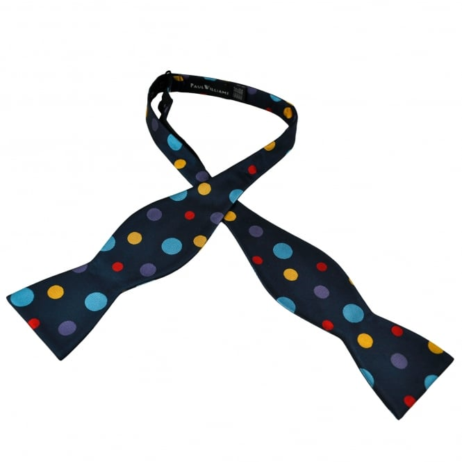 Navy Blue, Light Blue, Lilac, Gold & Red Polka Dot Self Tie Silk Bow Tie