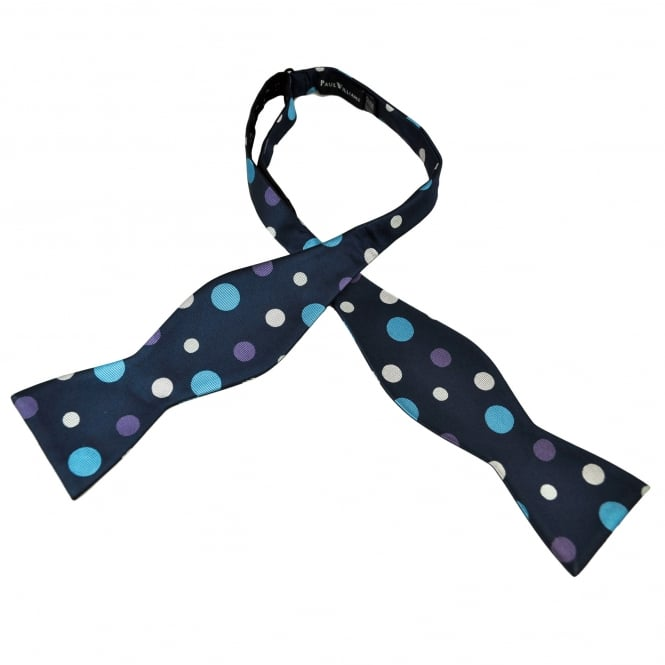 Navy Blue, Light Blue, Lilac & Silver Polka Dot Self Tie Silk Bow Tie