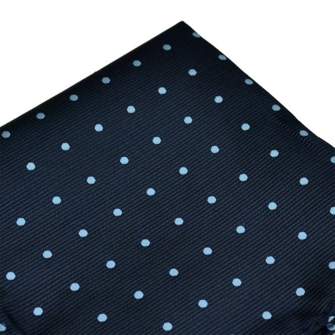 Navy Blue & Light Blue Polka Dot Pocket Square Handkerchief