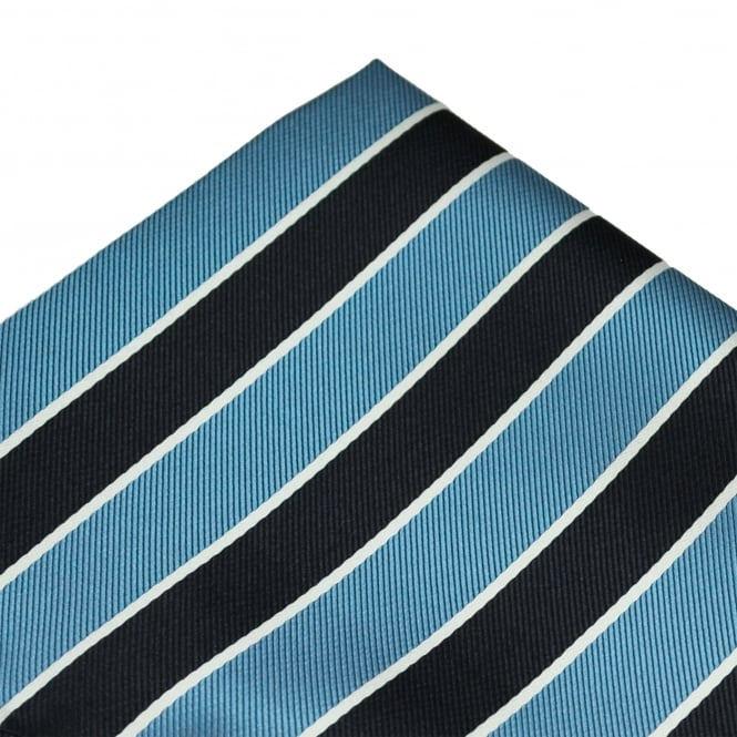 Navy Blue, Light Blue & White Striped Pocket Square Handkerchief