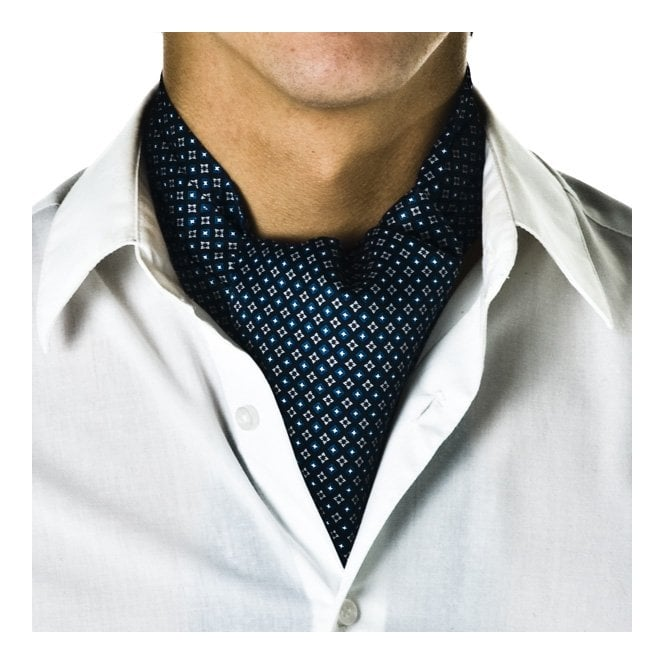 Navy Blue Micro-Pattern Casual Cravat from Ties Planet UK