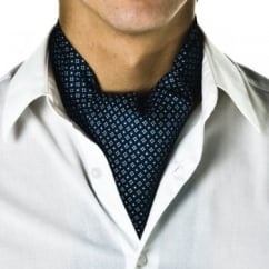 Navy Blue Micro-Pattern Casual Cravat