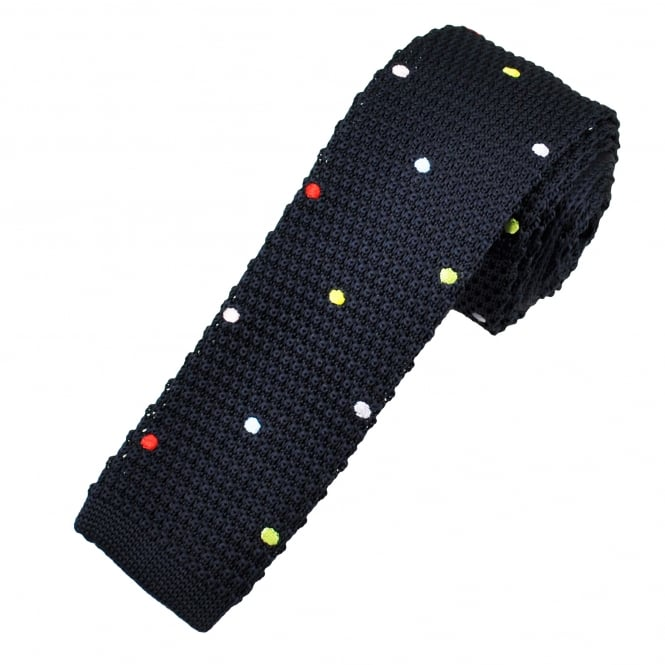 Navy Blue & Multi Coloured Polka Dot Knitted Skinny Tie