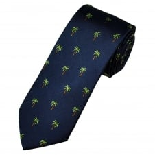 Navy Blue Palm Tree Luxury Silk Novelty Tie
