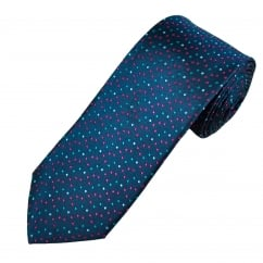 Navy, Blue & Pink Dot Patterned Men's Silk Tie