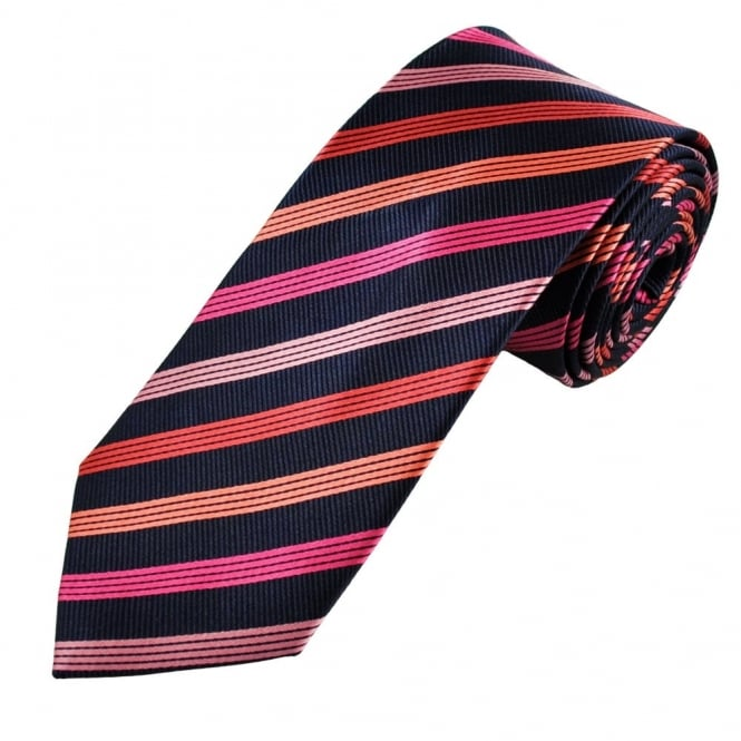 1dd5ffc1b754 Navy Blue, Pink, Fuchsia, Coral & Salmon Striped Men's Silk Tie from Ties  Planet UK