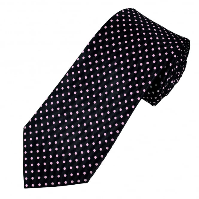 Navy Blue & Pink Polka Dot Men's Tie