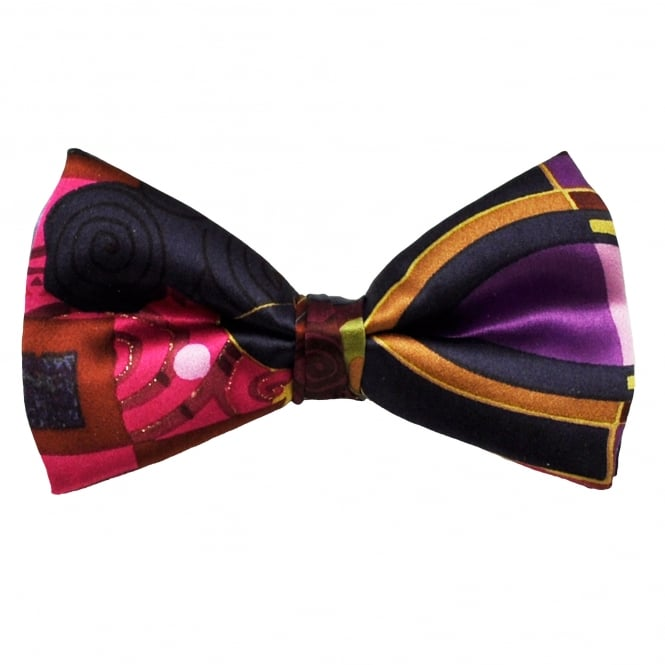 Navy Blue, Pink, Purple & Brown Patterned Silk Bow Tie