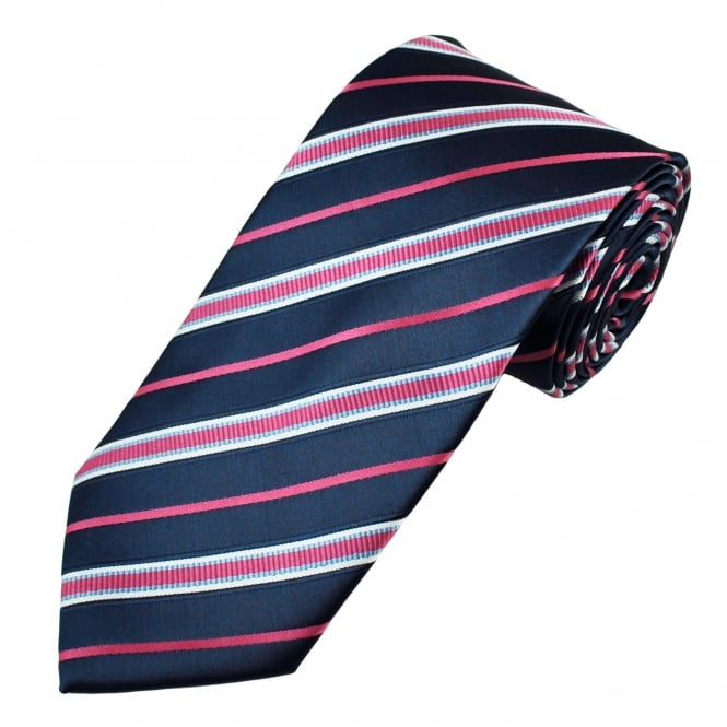Navy Blue, Pink, White & Sky Blue Striped Men's Tie