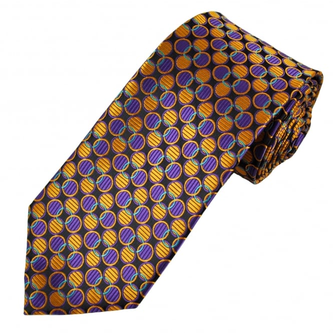 Navy Blue, Purple, Gold & Turquoise Circle Pattern Men's Tie