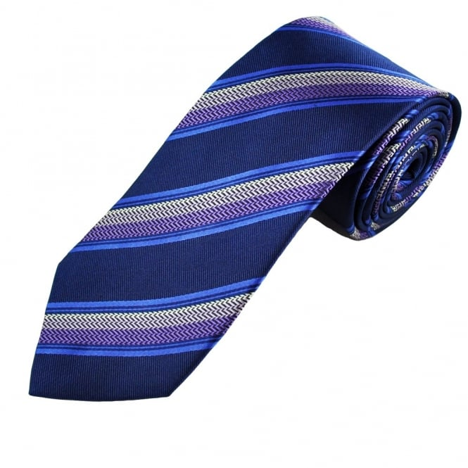 Navy, Blue, Purple & Silver Stripe Patterned Men's Silk Tie