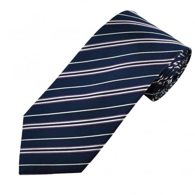 Navy Blue, Purple & White Striped Men's Silk Tie