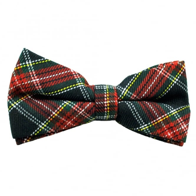 Navy Blue, Red, Green, Yellow & White Tartan Bow Tie