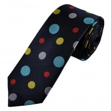 Navy Blue, Red, Lilac, Sky Blue & Gold Circles Patterned Men's Luxury Silk Tie