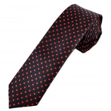 Navy Blue & Red Polka Dot Men's Skinny Tie