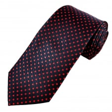 Navy Blue & Red Polka Dot Men's Tie