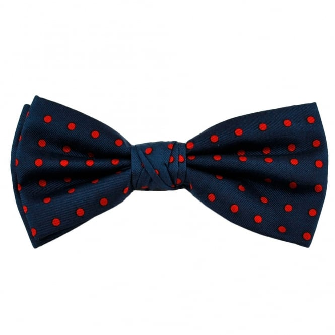 Navy Blue & Red Polka Dot Silk Bow Tie