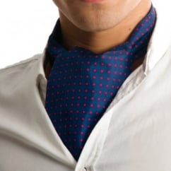 Navy Blue & Red Polka Dot Silk Casual Cravat