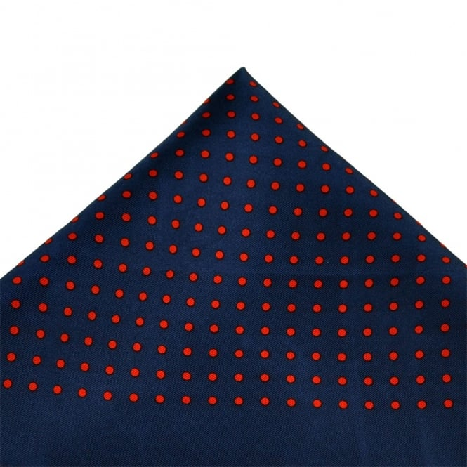 Navy Blue & Red Polka Dot Silk Handkerchief