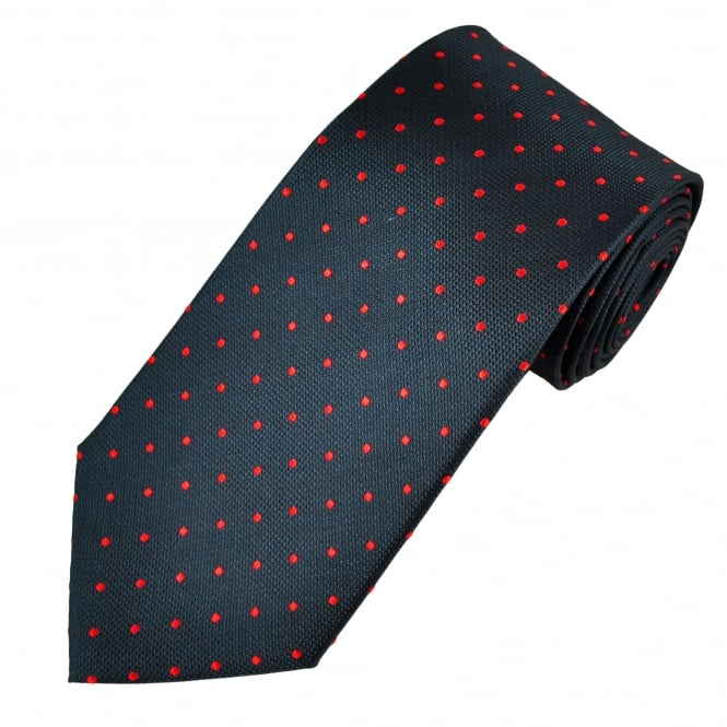 Navy Blue & Red Polka Dot Silk Men's Tie
