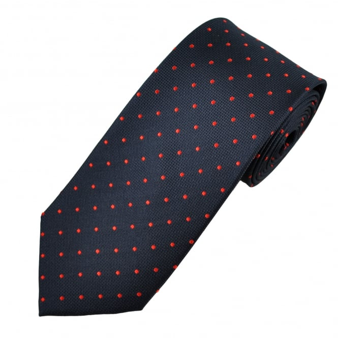 Navy Blue & Red Polka Dot Silk Tie