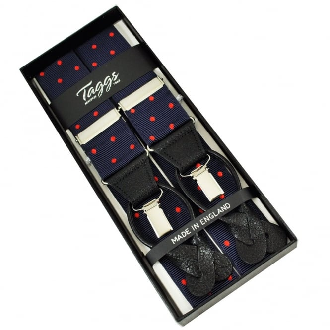 Navy Blue & Red Polka Dot Trouser Braces (with Black Leather Dual 2 in 1 Button and Clip Attachment)