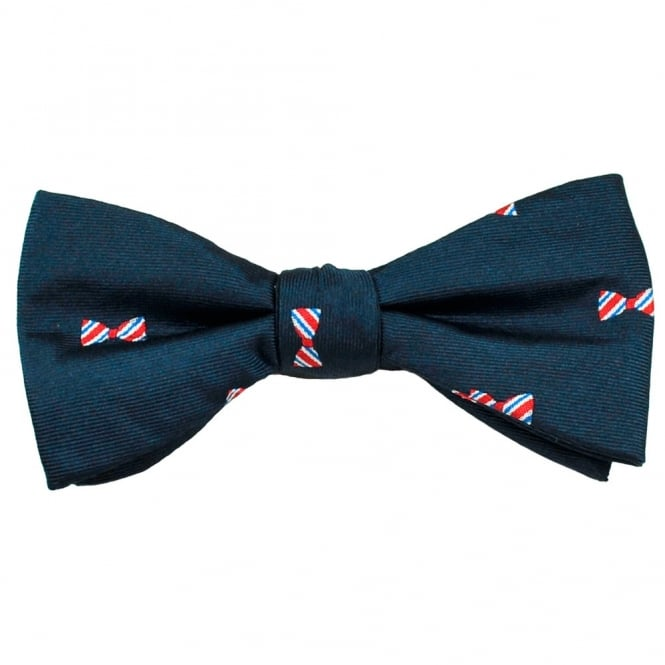 Navy Blue, Red, Royal & Silver Dickie Bow Patterned Men's Silk Bow Tie