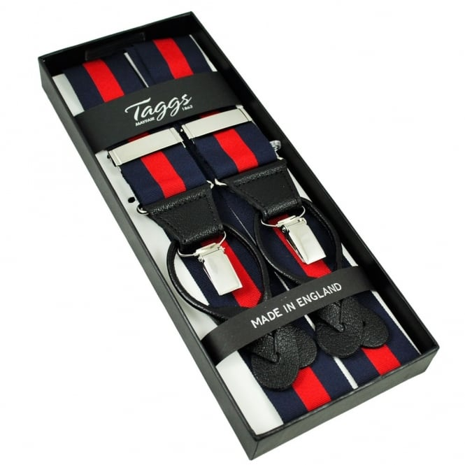 Navy Blue & Red Striped Trouser Braces (with Black Leather Dual 2 in 1 Button and Clip Attachment)